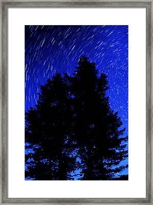 Star Trails In Night Sky Framed Print by Lane Erickson