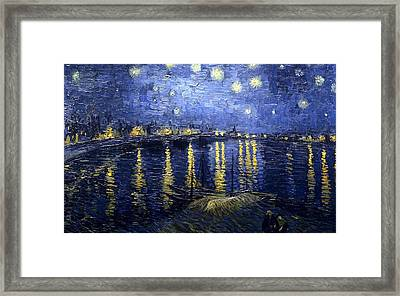 Framed Print featuring the painting Starry Night Over The Rhone by Vincent Van Gogh