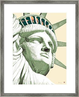 Statue Liberty - Pop Stylised Art Poster Framed Print by Kim Wang