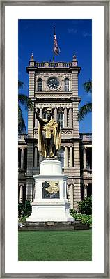 Statue Of King Kamehameha In Front Framed Print by Panoramic Images