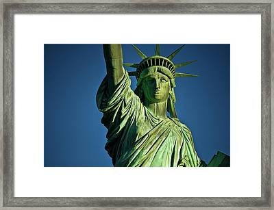 Statue Of Liberty Against Blue Sky, New Framed Print