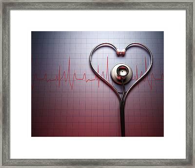 Stethoscope In Heart Shape Framed Print by Ktsdesign