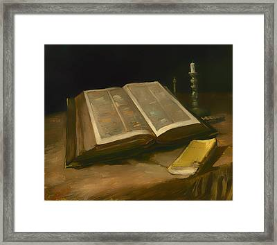 Still Life With Bible Framed Print
