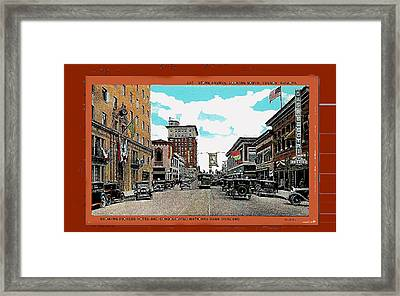 Stone Avenue South Trolley Pioneer Hotel Consolidated Nat'l Rodeo Banners C. 1928 Collage '08 Tucson Framed Print