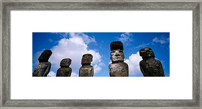 Stone Heads, Easter Islands, Chile Framed Print by Panoramic Images