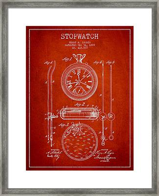 Stopwatch Patent Drawing From 1889 Framed Print
