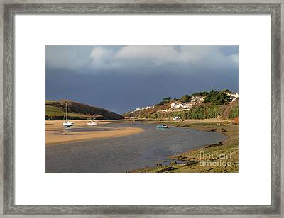 Framed Print featuring the photograph Storm Approaches The Gannel Estuary Newquay Cornwall by Nicholas Burningham