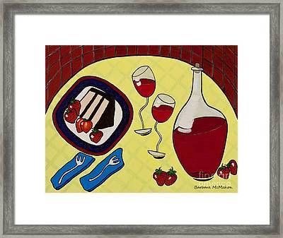 Strawberry Wine Framed Print by Barbara McMahon