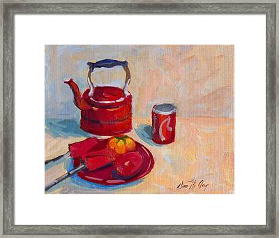 Study In Red Framed Print by Diane McClary