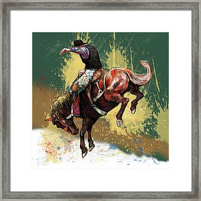 Stylised Cow Boy Modern Drawing Art Sketch Framed Print by Kim Wang