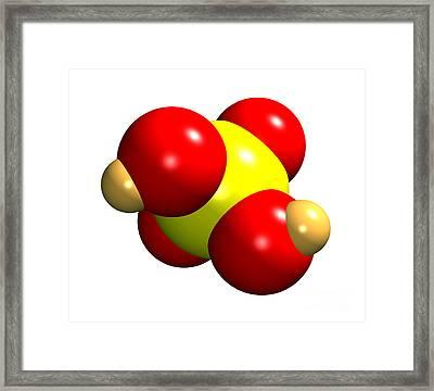 Sulphuric Acid Molecule Framed Print by Dr. Mark J. Winter