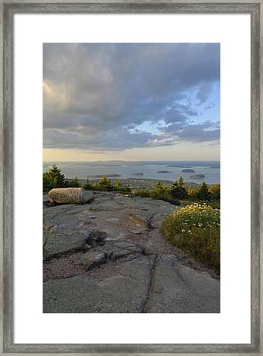 Summer Evening On Cadillac Mountain Framed Print by Stephen  Vecchiotti