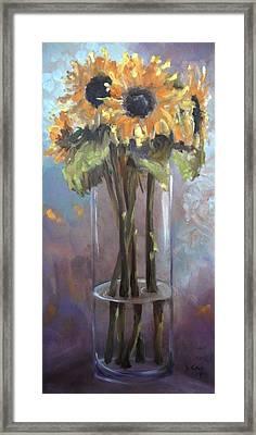 Sunflower Bouquet Framed Print by Donna Tuten
