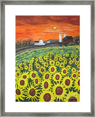 Sunflower Valley Farm Framed Print by Jeffrey Koss
