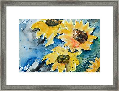 Framed Print featuring the painting Sunflowers by Ismeta Gruenwald