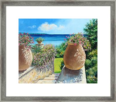 Sunny Terrace Framed Print by Jean-Marc Janiaczyk