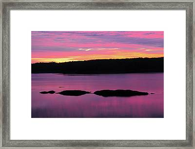 Sunrise On The New Meadows River Framed Print by Michel Hersen