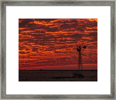 Sunset And Windmill Framed Print by Rob Graham