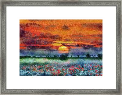 Framed Print featuring the painting Sunset by Georgi Dimitrov