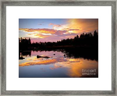 Sunset Manzanita Lake Framed Print