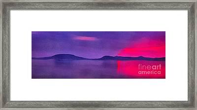 Sunset On Balaton Lake Framed Print by Odon Czintos