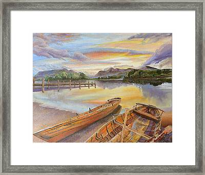 Framed Print featuring the painting Sunset Over Serenity Lake by Mary Ellen Anderson