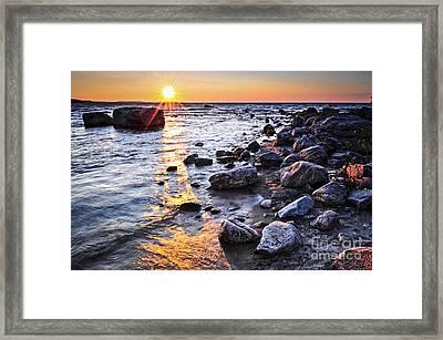 Sunset Over Water Framed Print by Elena Elisseeva
