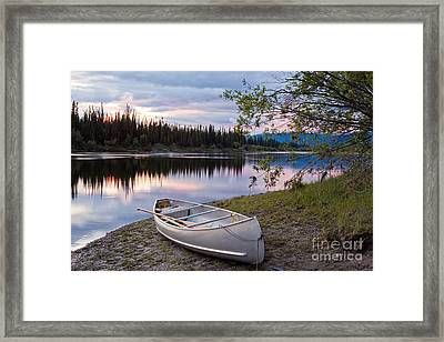 Sunset Sky And Canoe At Teslin River Yukon Canada Framed Print