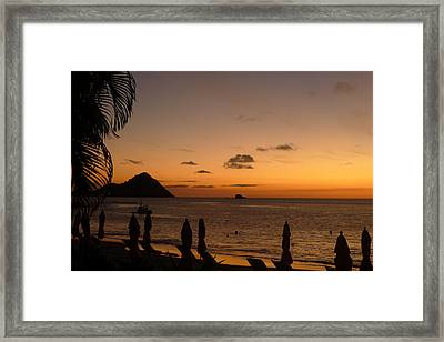 Sunset - St. Lucia Framed Print by Nora Boghossian