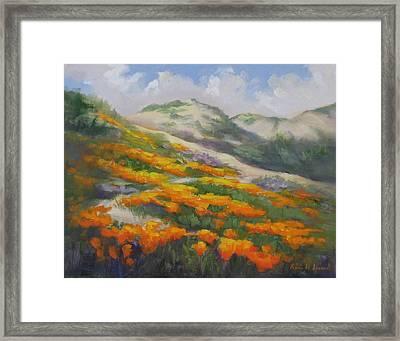 Sunset State Beach Poppies Framed Print by Karin  Leonard