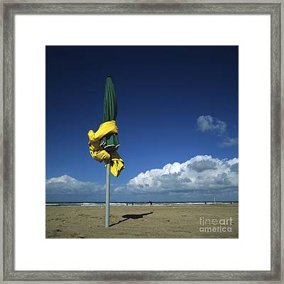 Sunshades On The Beach. Deauville. Normandy. France. Europe Framed Print by Bernard Jaubert