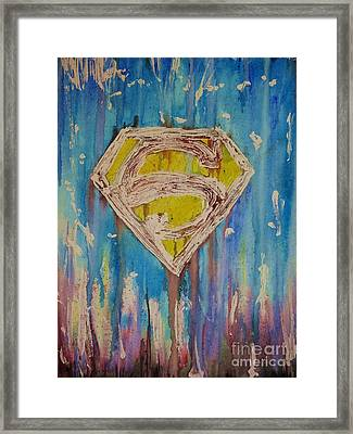 Superman's Shield Framed Print by Justin Moore