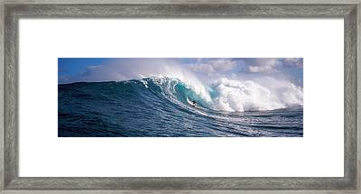 Surfer In The Sea, Maui, Hawaii, Usa Framed Print by Panoramic Images