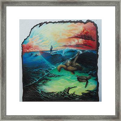 Surfing At Satellite Beach Framed Print by Stacey Heney