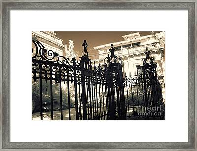 Surreal Gothic Savannah Mansion Iron Gates Framed Print by Kathy Fornal