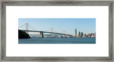 Suspension Bridge Across A Bay, Bay Framed Print
