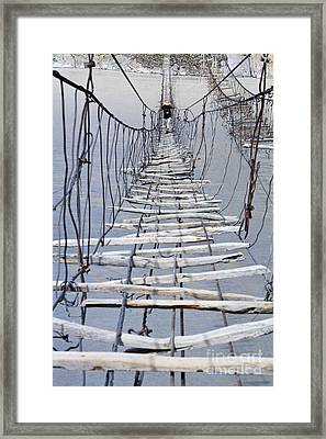 Suspension Bridge Across The Hunza River Framed Print by Robert Preston