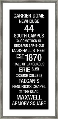 Syracuse College Town Wall Art Framed Print by Replay Photos