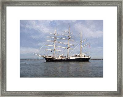 Tall Ship At Anchor Framed Print by Colin Porteous
