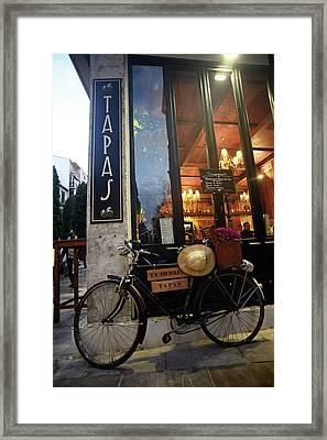 Tapas Bars At Night In Granada Framed Print