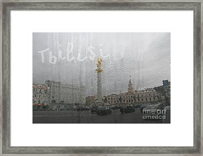 Tbilisi Through The Window In Rainy Autumn Framed Print by Lali Kacharava