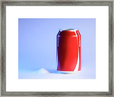 Teaspoon Of Sugar With Can Of Fizzy Drink Framed Print