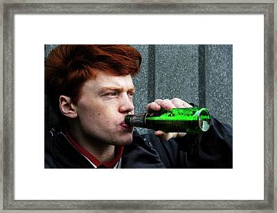 Teenager Drinking Beer Framed Print by Cordelia Molloy