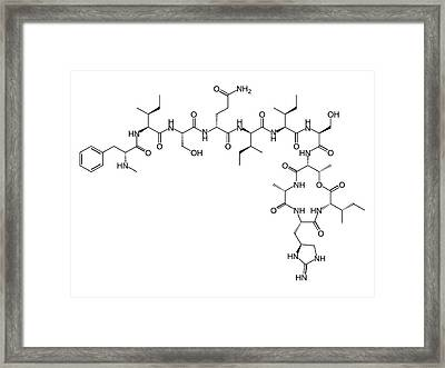 Teixobactin Antibiotic Structure Formulae Framed Print by Alfred Pasieka