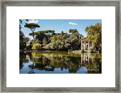 Temple Of Aesculapius And Lake In The Villa Borghese Gardens In  Framed Print