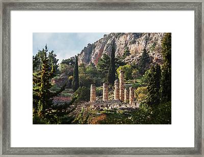 Temple Of Apollo  Delphi, Greece Framed Print by Reynold Mainse