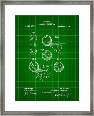 Tennis Ball Patent 1914 - Green Framed Print by Stephen Younts