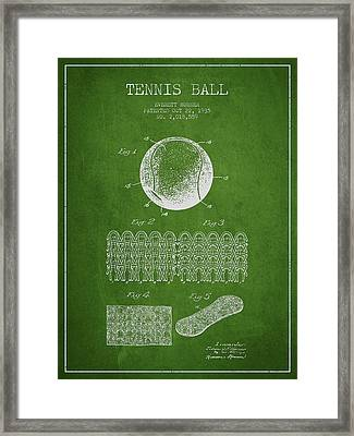 Tennnis Ball Patent Drawing From 1935 Framed Print by Aged Pixel