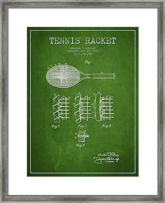 Tennnis Racket Patent Drawing From 1929 Framed Print by Aged Pixel
