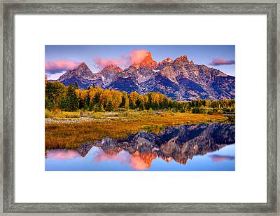 Tetons Reflection Framed Print by Aaron Whittemore